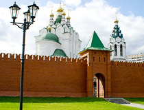 Holy Trinity Church and stylized Kremlin wall in Yoshkar-Ola